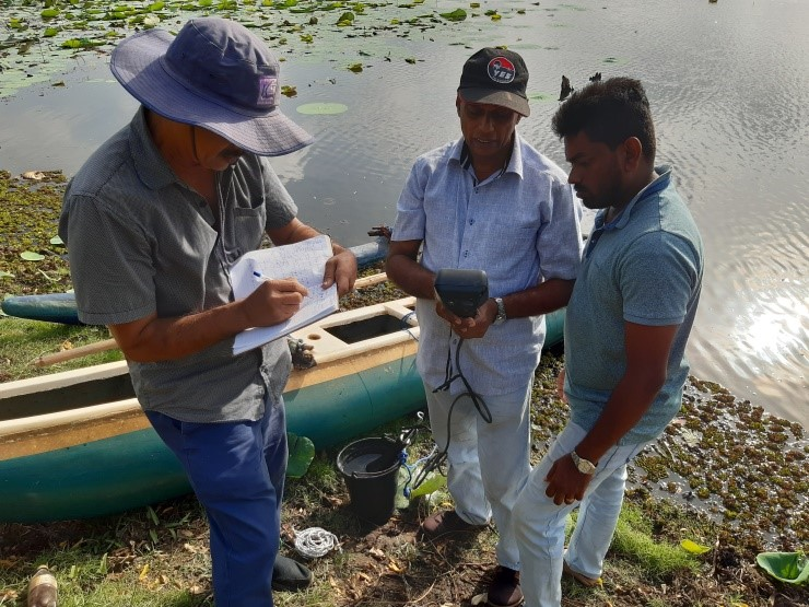 Surface water quality test in Muwaatagama wewa