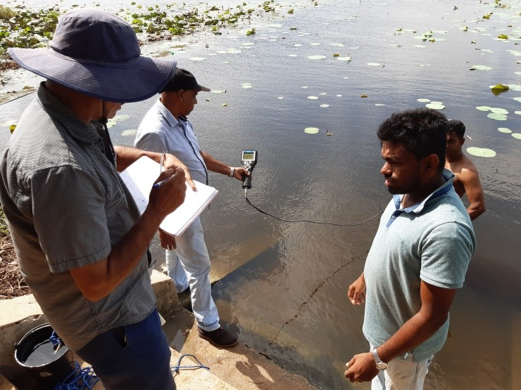 Surface water quality test in Pihimbiyagollewa Tank